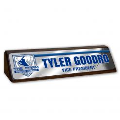 custom wood desk nameplate with metal plate