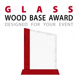 custom glass award with wood base