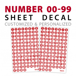 sport number 00-99 sheet decals stickers
