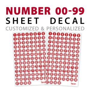 sport number 00-99 sheet decals stickers