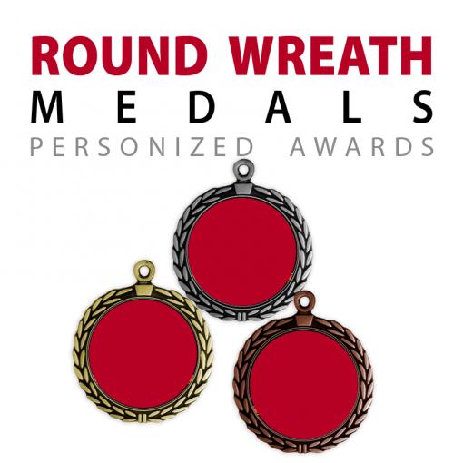 custom round wreath medals
